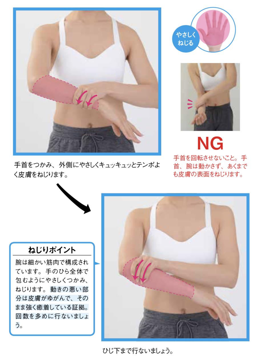 皮膚ねじりダイエット二の腕工程1