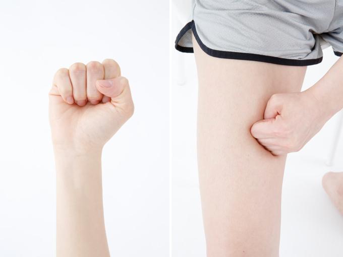 4本の指を使うときのこぶし 実際に4本の指でマッサージ