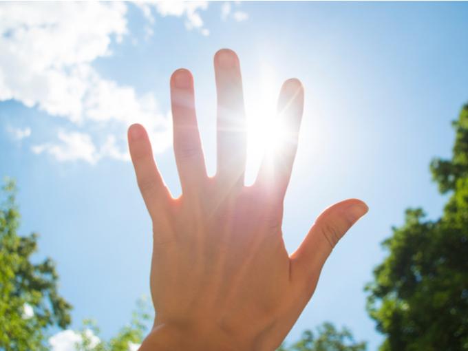 手のひらを太陽にかざす手の画像