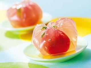 ミニトマトの茶巾寒天の完成イメージ