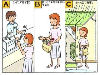 コンビニで傘を買う女性、折り畳み傘をバックからとり出す女性、店の前で雨宿りをする女性のイラスト