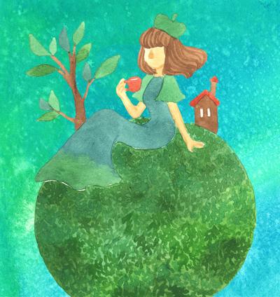苔玉の人のイラスト
