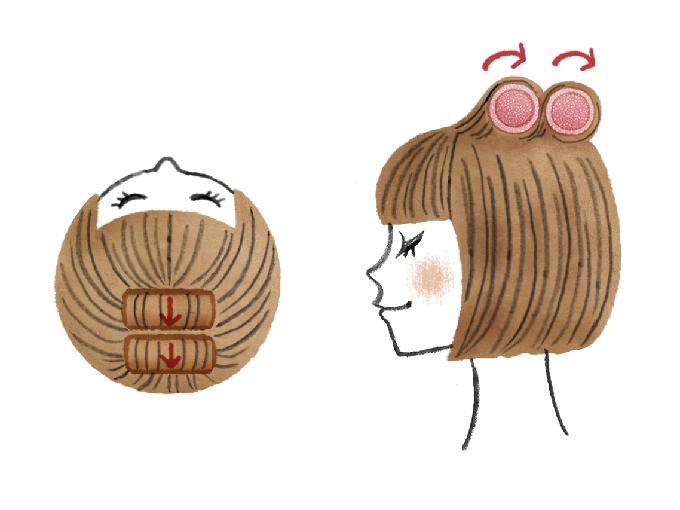 大き目のマジックカーラーを使ったヘアスタイル