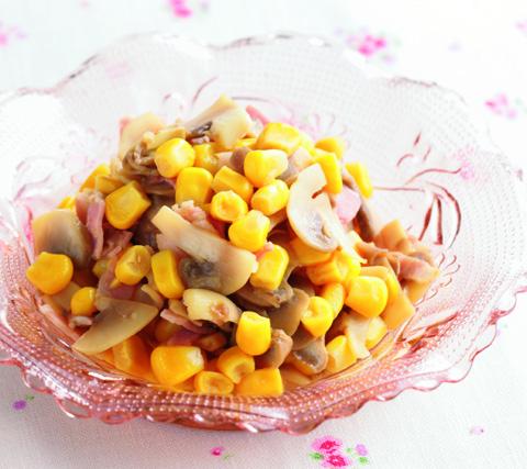 とうもろこしとマッシュルームのサラダの完成イメージ