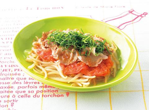 トマトともやし、豚肉の梅蒸しの完成イメージ