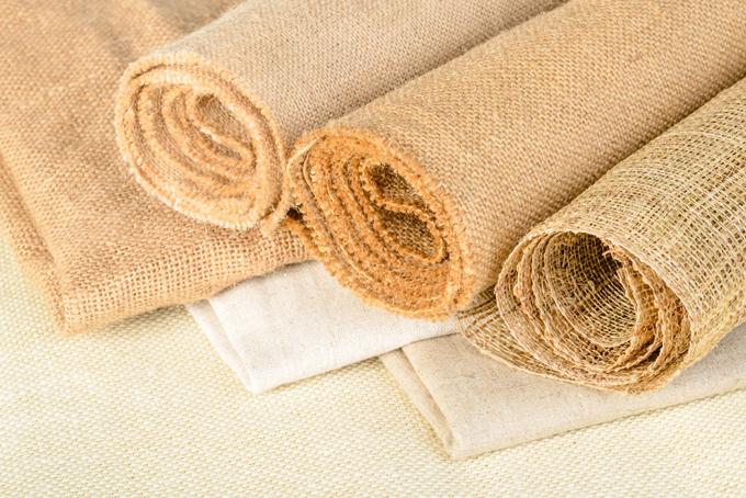 麻素材の布の画像