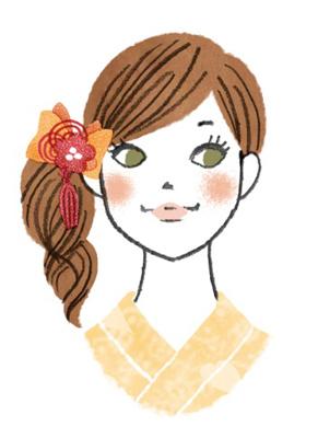 サイドアップヘアの浴衣女子イラスト