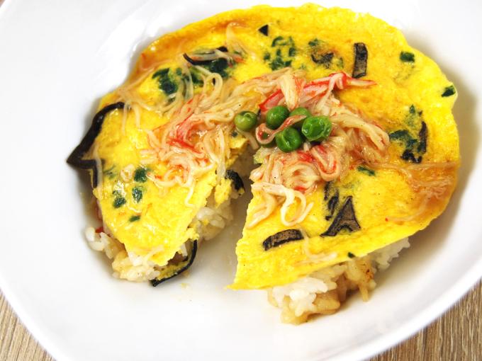 お皿に移した「ミニ天津飯」のアップ画像