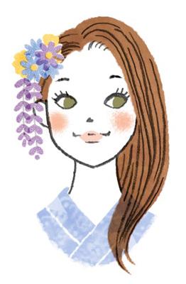 ダウンヘアの浴衣女子イラスト