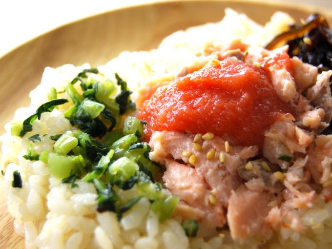 お皿に移した「鮭ほぐしと明太子ご飯」のアップ画像