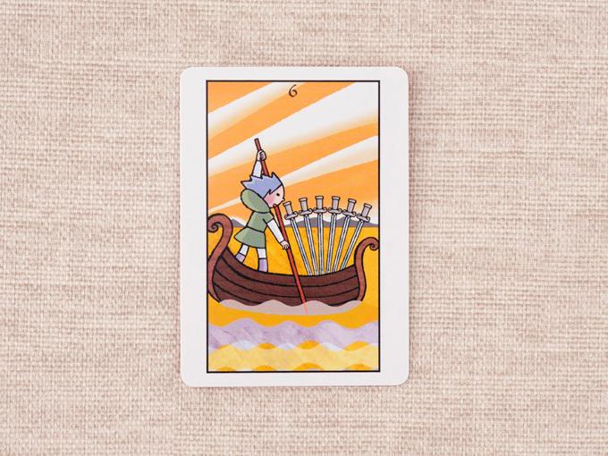 6本の剣と船に乗る男性の絵