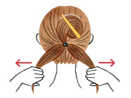 下の毛だけをさらに左右に分ける