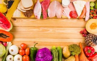 果物、野菜、たんぱく質の集合