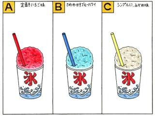 いちご味のかき氷、ブルーハワイのかき氷、みぞれ味のかき氷のイラスト