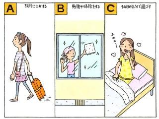 キャリーケースを引く女性のイラスト、窓の掃除をする女性のイラスト、ベッドの上であくびをする女性のイラスト