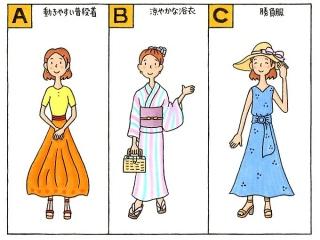 Tシャツにロングスカート姿の女性のイラスト、浴衣姿の女性のイラスト、鮮やかなワンピース姿の女性のイラスト