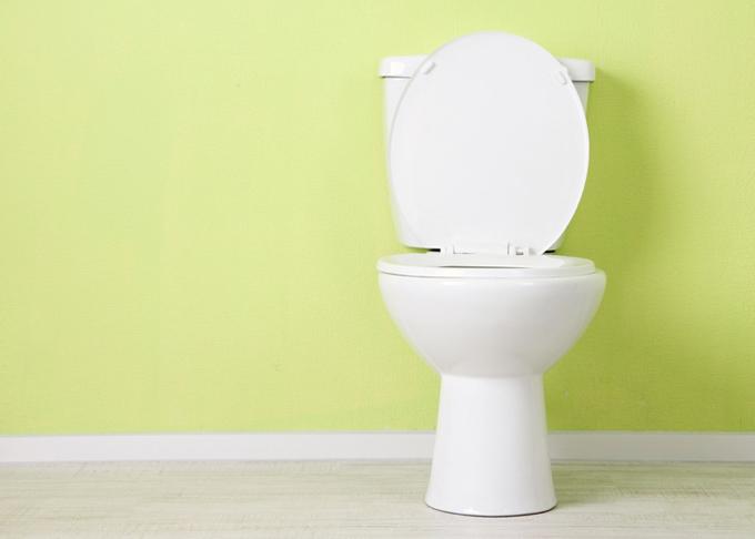 グリーンの壁のトイレ