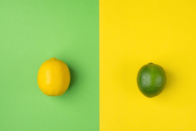 黄色いレモンと緑のレモン