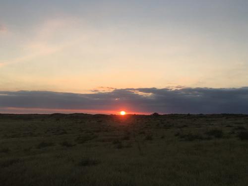 ハワイの大地からの夕焼け