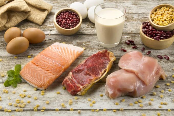肉、魚、豆類、乳製品の集合