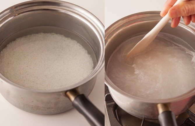 ●材料 米……カップ1 ※もち米(甘みが強くなります)や玄米でもOK。 米麹(乾燥板麹を使用)……200g  ※生麹と乾燥麹の2種ありますが、保存のきく乾燥麹がおすすめです。 水……カップ4 ●道具について 鍋……1.5L以上(直径20~22cm)程度のふたのあるものが適しています。あれば鋳物(いもの)の厚手鍋や土鍋など、保温性が高いものがベター。 ●保温道具……あれば発砲スチロールの箱。なければ鍋を包めるサイズのバスタオルやブランケット、タオルなど。 ●保存容器……ガラスやホーロー、プラスチック素材のものが◎。アルミやステンレスは、酵素の働きで穴が開いてしまう可能性があります。 ●つくり方 <1> 米を洗って鍋に入れ、カップ3の水を加えて30分~1時間ほど浸水させる。しっかり給水させると米が柔らかくなり、仕上がりが甘くなる。浸水させている間に、板麹を手でばらばらにほぐしておく(ばら麹を使う場合はそのままでOK)。