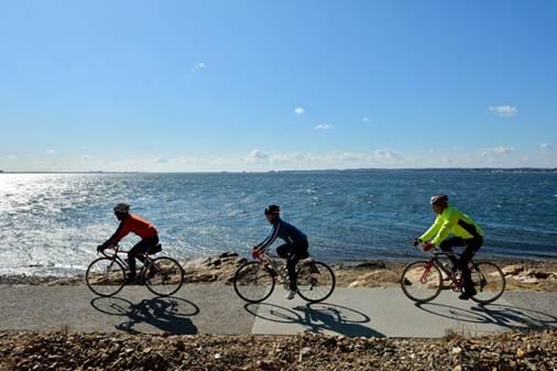海辺をサイクリング