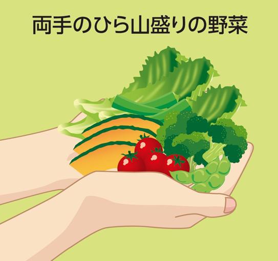 両手のひら山盛りの野菜