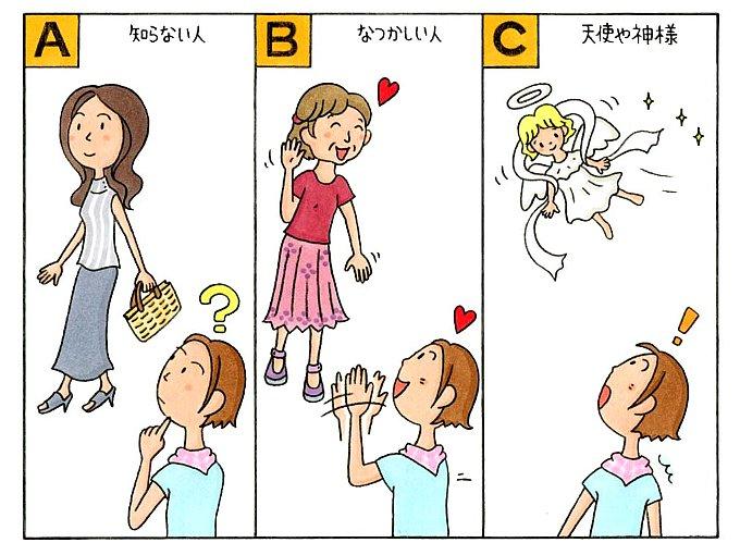 知らない女性が歩いている様子、知り合いの女性が手を振っている様子、天使が飛んでいる様子