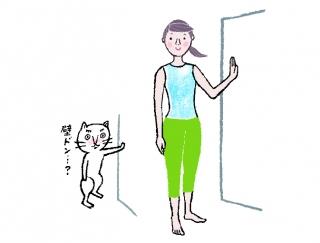 【今日のねこストレッチ】胸キュン♡な壁ドンポーズで美胸をつくる!
