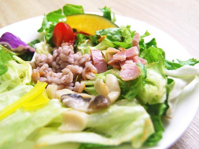 お皿に移した「温めて食べるサラダ(トマトクリームソース入り)」のアップ画像