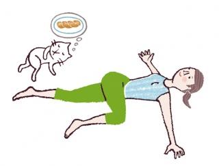 【今日のねこストレッチ】お腹についたプヨ肉を撃退!3つのペタ腹ストレッチ