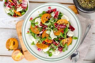 柿と肉のサラダ