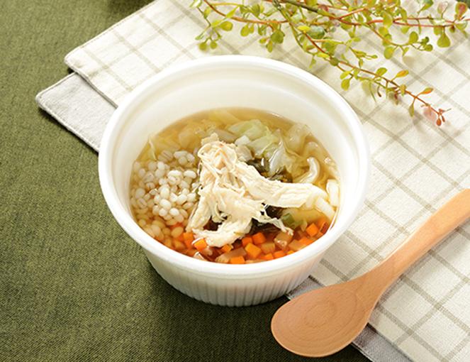 公式サイトに掲載されている「生姜入りもち麦のスープ」の画像