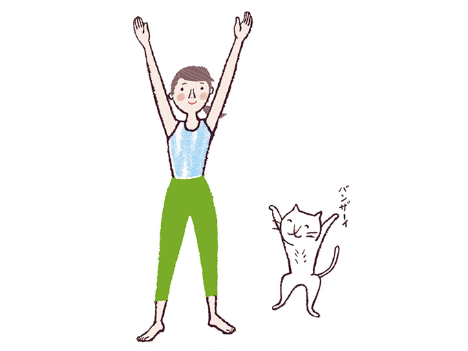 足を腰幅に開き、まっすぐ立ちます。両腕を頭のほうに伸ばしたら、指先をやや外側に向けて腕を開き「Vの字」をつくる。このとき、手のひらは内側に向けます。 ひざを伸ばしたまま、上体を前に倒す。頭頂部を床に向けるように大きく倒して、腕は前屈したときに上体といっしょに下ろします。
