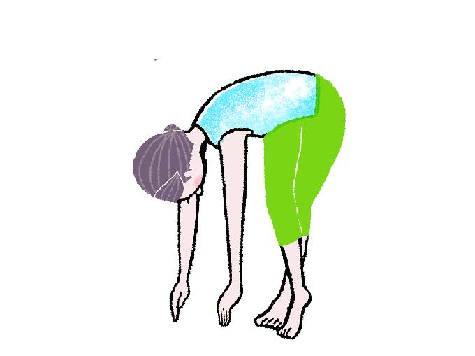 下半身を固定したまま、上体だけを右側にひねります。