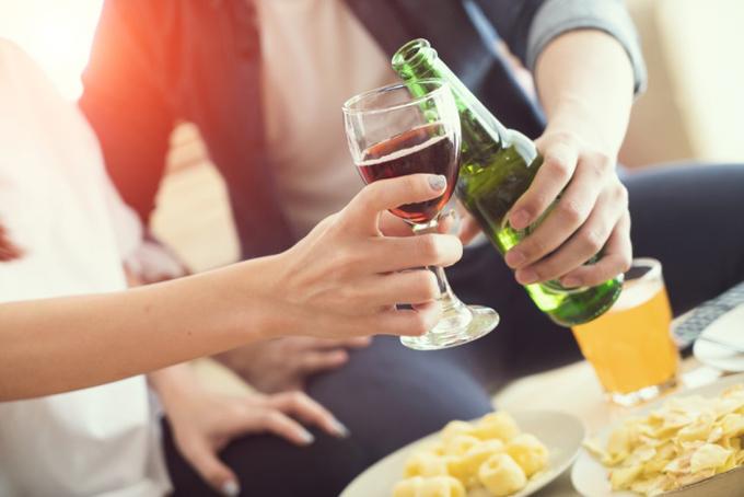 ワインとビールで乾杯