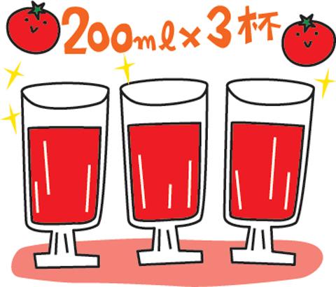 トマト200ml×3杯のイラスト