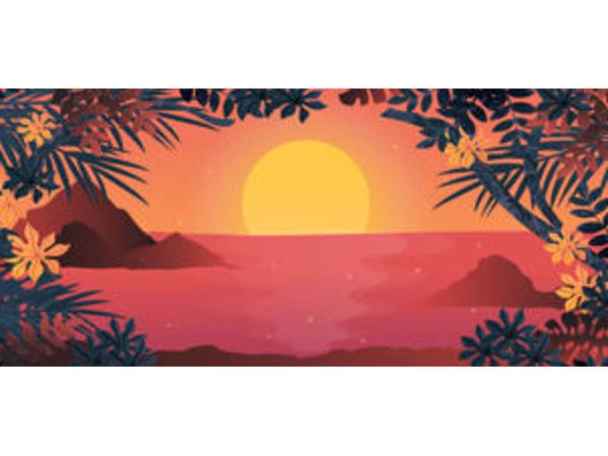 夕日のイラストが表示された画面