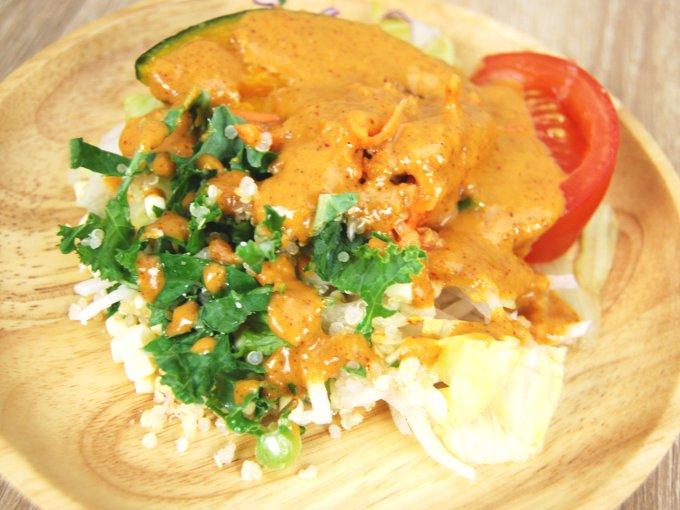 お皿に移した「かぼちゃとキャロットラペのサラダ」のアップ画像
