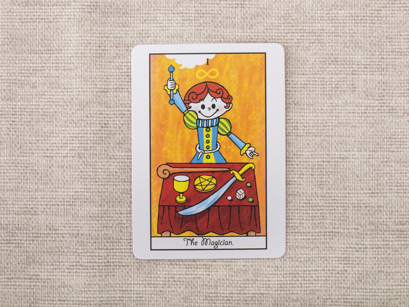 魔法道具を机に並べた男性の絵