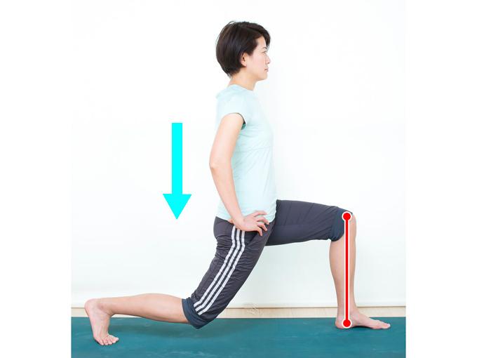 右ひざを曲げて腰を下ろしていきます。