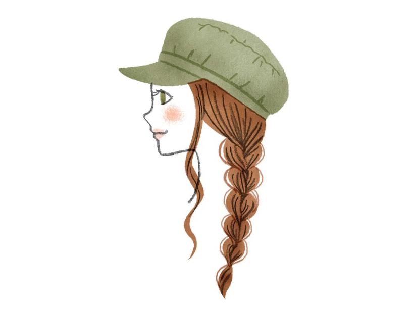 ゆるゆる三つ編み×キャスケット帽