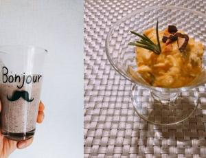 アーモンドチョコシェイクとかぼちゃのサラダ