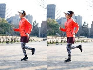 チーランニング走法で走っている女性