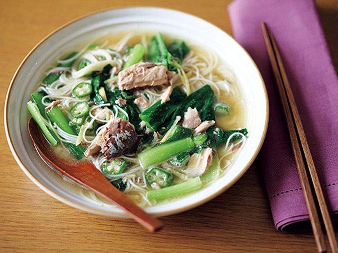 さば缶と小松菜の菌活スープの完成イメージ