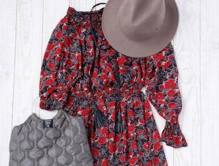 花柄ワンピースをすっきり着こなす!秋のショッピングコーデ