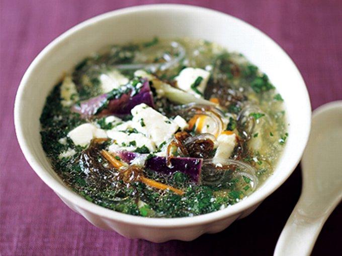 なすとモロヘイヤの菌活スープの完成イメージ