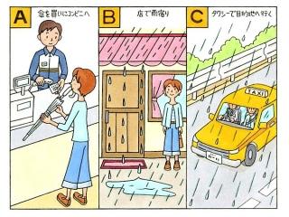 コンビニで傘を買っている女性、店先で雨宿りをしている女性、タクシーに乗っている女性のイラスト