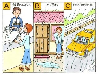 【心理テスト】突然のどしゃぶり。傘はない!あなたはどうする?