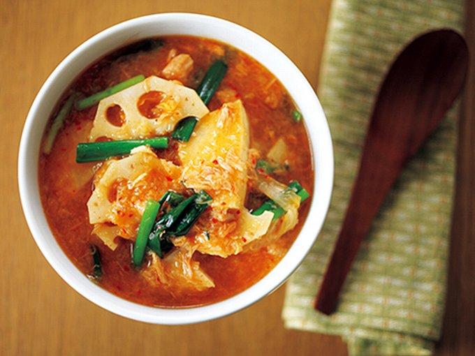 れんこん入りの菌活キムチスープの完成イメージ
